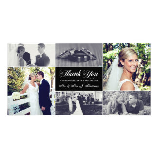 Los recienes casados le agradecen tarjeta de la tarjetas fotográficas