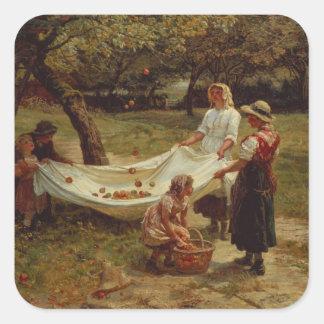 Los recolectores de Apple, 1880 Pegatina Cuadradas Personalizadas