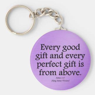 Los regalos de dios son 1:17 bueno y perfecto de J Llavero Redondo Tipo Pin