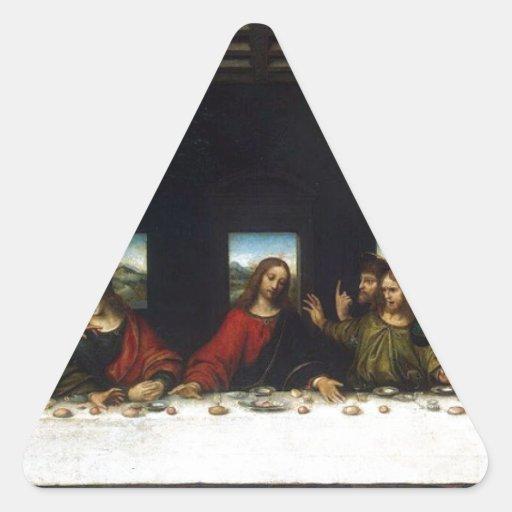 Los regalos de la última cena pegatina triangulo