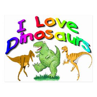 """Los regalos de los dinosaurios de los niños """"amo"""" tarjetas postales"""