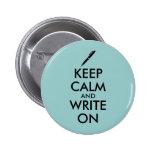 Los regalos de los escritores guardan calma y pin