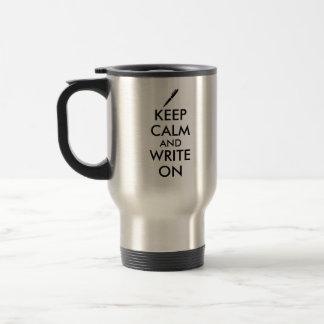 Los regalos de los escritores guardan calma y taza de viaje de acero inoxidable