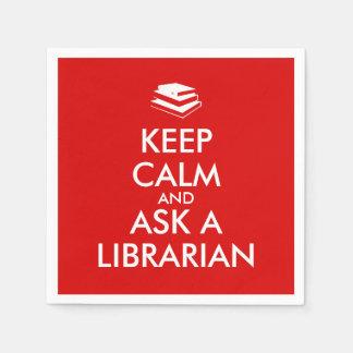 Los regalos del bibliotecario guardan calma para servilleta desechable