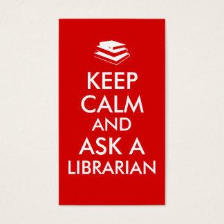 Los regalos del bibliotecario guardan calma para tarjeta de negocios