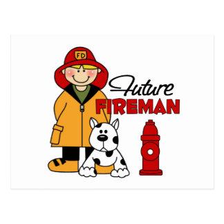 Los regalos del bombero de los niños futuros del tarjeta postal