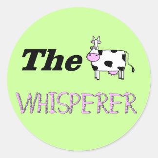 Los regalos del Whisperer de la vaca Pegatina Redonda