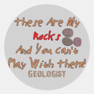 """Los regalos divertidos del geólogo """"éstos son mis pegatina redonda"""