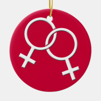 Los regalos lesbianos de las mujeres gay del amor  ornamentos de navidad