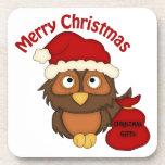 Los regalos retros adorables del búho del navidad  posavasos de bebida