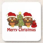Los regalos retros adorables del búho del navidad  posavasos de bebidas