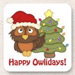 Los regalos retros adorables del búho del navidad  posavasos