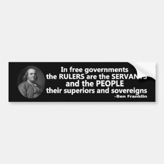 Los reglas de la cita de Ben Franklin son criados Pegatina Para Auto