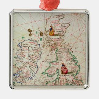 Los Reinos de Inglaterra y de Escocia Adorno Cuadrado Plateado