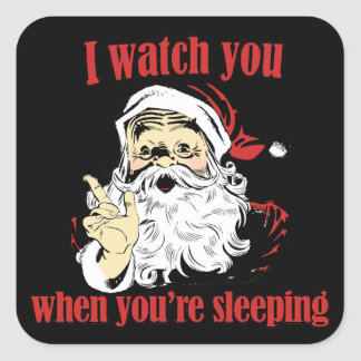 Los relojes de Santa usted duerme Colcomanias Cuadradas Personalizadas