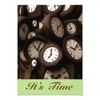 """Los relojes retros es invitaciones del invitación 4.5"""" x 6.25"""""""