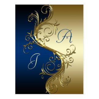 Los remolinos adornados del oro del negro azul aho tarjetas postales