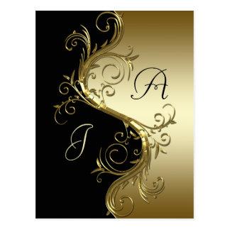 Los remolinos adornados del oro negro ahorran la f postal