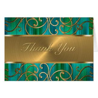 Los remolinos afiligranados del oro le agradecen tarjeta