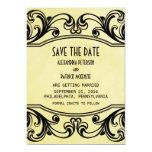 Los remolinos amarillos del vintage ahorran la invitación 12,7 x 17,8 cm