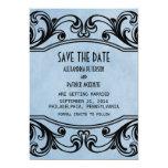 Los remolinos azules del vintage ahorran la fecha invitación 12,7 x 17,8 cm