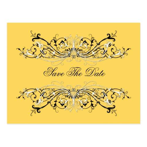 Los remolinos blancos negros amarillos #2 ahorran  tarjetas postales