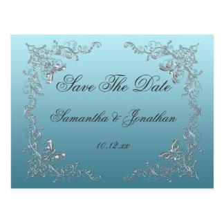 Los remolinos de plata adornados azules claros aho tarjeta postal