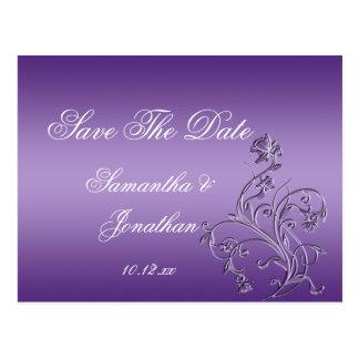 Los remolinos florales adornados púrpuras de Ombre Tarjeta Postal