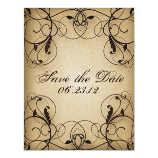 Los remolinos florales del vintage ahorran la invitación 10,8 x 13,9 cm