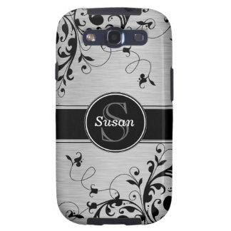 Los remolinos florales negros de plata SAMSUNG enc Galaxy S3 Fundas
