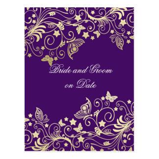 Los remolinos florales púrpuras del oro de lujo ah tarjeta postal