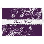 Los remolinos florales púrpuras y grises le agrade tarjeta