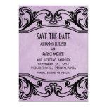 Los remolinos púrpuras del vintage ahorran la invitación 12,7 x 17,8 cm