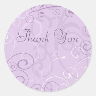 Los remolinos púrpuras le agradecen los sellos del pegatina redonda