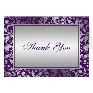 Los remolinos púrpuras y de plata del damasco le tarjeta pequeña