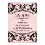 Los remolinos rosados del vintage ahorran la fecha invitación 12,7 x 17,8 cm