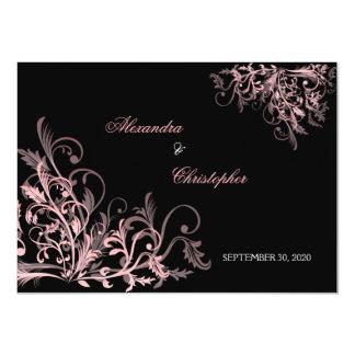 Los remolinos rosados elegantes ahorran la invitación 11,4 x 15,8 cm
