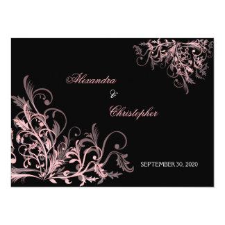 """Los remolinos rosados elegantes ahorran la invitación 5.5"""" x 7.5"""""""