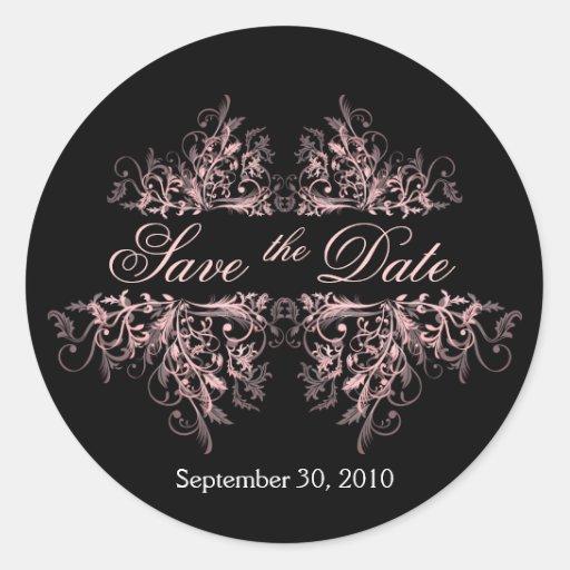 Los remolinos rosados elegantes de la flor ahorran pegatina redonda