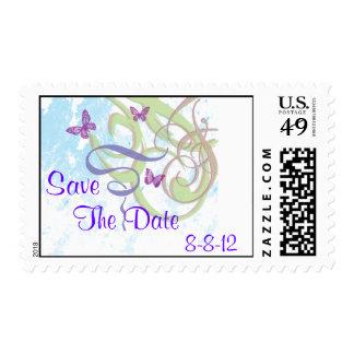Los remolinos y las mariposas de la fantasía de la sello postal