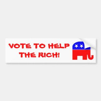 Los republicanos apenas ayudan a los ricos pegatina de parachoque