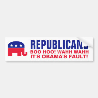 Los republicanos - lloremos y culpemos a Obama Etiqueta De Parachoque