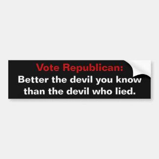 Los republicanos - mejore al diablo que usted cono pegatina para auto