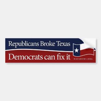 Los republicanos rompieron al pegatina de Tejas Pegatina Para Auto