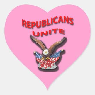 Los republicanos unen el rpr rojo pegatinas de corazon