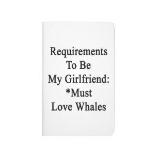 Los requisitos de ser mi novia deben amar ballenas cuadernos