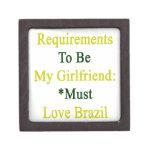 Los requisitos de ser mi novia deben amar el Brasi