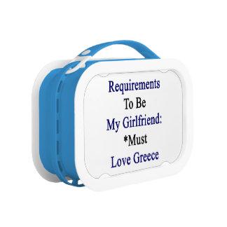 Los requisitos de ser mi novia deben amar Grecia