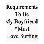 Los requisitos de ser mi novio deben amar el membretes personalizados