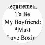 Los requisitos de ser mi novio deben amar el pegatinas
